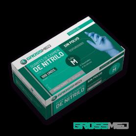 Guantes de Nitrilo para Examen (Sin Polvo) - Talla M - Azul - Caja x 100 Unds - GROSSMED