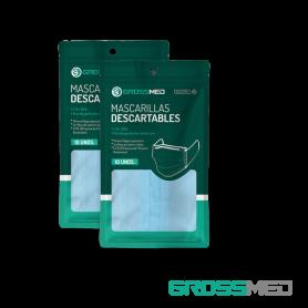 Mascarillas Descartables de 2 Ligas (Tapabocas) - Paquete x 10 Unds - GROSSMED
